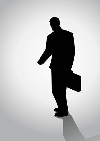 valigia: Illustrazione della sagoma di un uomo con la valigia a piedi, vista posteriore Vettoriali