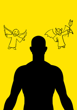 kiddies: Man silhouette with cartoon doodle of angel and devil