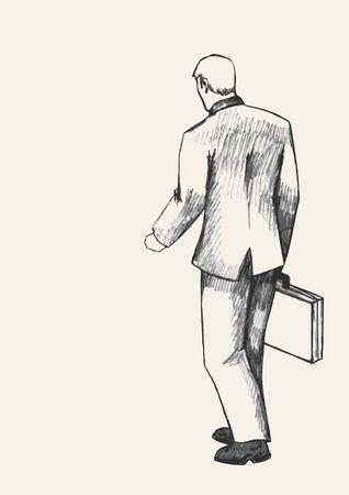 human figure: ilustración Boceto de un hombre con la maleta caminar, visión trasera Vectores