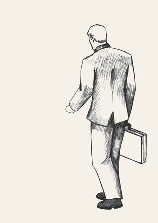 man rear view: Sketch illustration of a man with suitcase walking, rear view