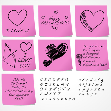 post scripts: Sticky notes with funny messages for Valentines day