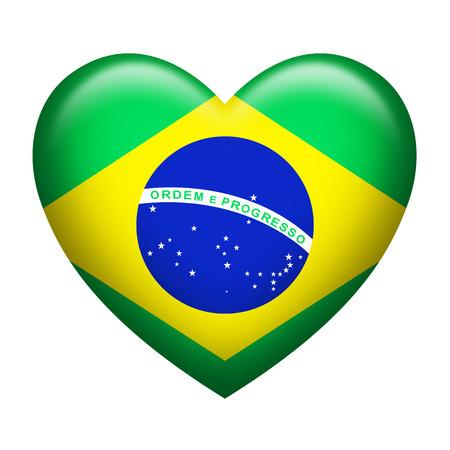 federative republic of brazil: Heart shape of Brazil flag isolated on white