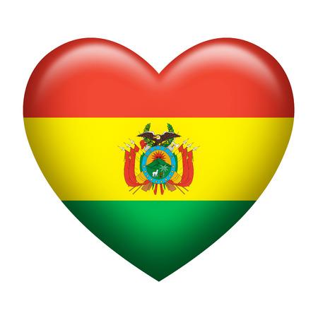bandera de bolivia: La forma del coraz�n de la bandera de Bolivia aislado en blanco