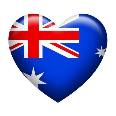 down under: Heart shape of Australia flag isolated on white Stock Photo