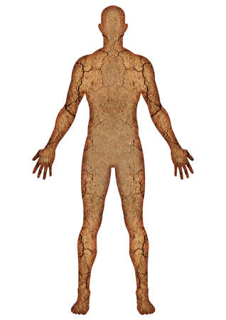 dehydration: Digital imaging of human body with crack land texture. Dehydration, dry concept