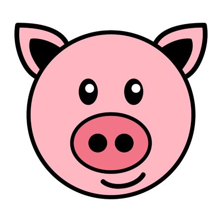 Semplice cartone animato di un maiale sveglio
