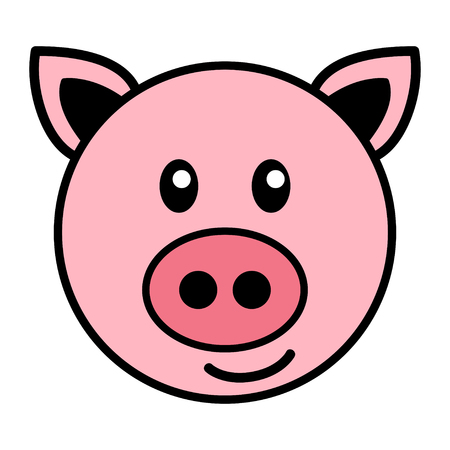 Simple cartoon of a cute pig Çizim