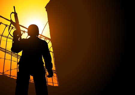 Silhouette illustration of a guard holding a machine gun from low angle shot
