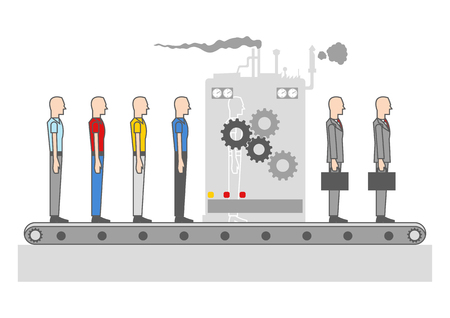 changes: Modern simple graphic of men transforming into professional businessman