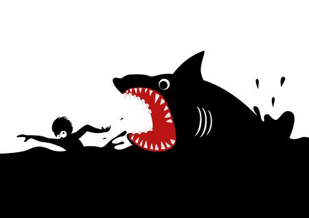Cartoon illustrazione di un uomo di nuoto di panico, evitando attacchi di squali