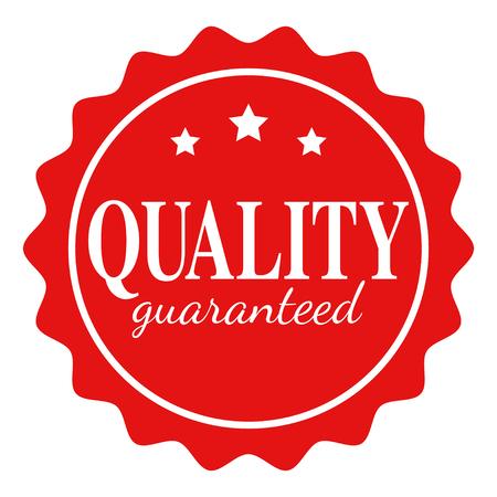sellos: Icono simple con texto de calidad garantizada aislado en el fondo blanco