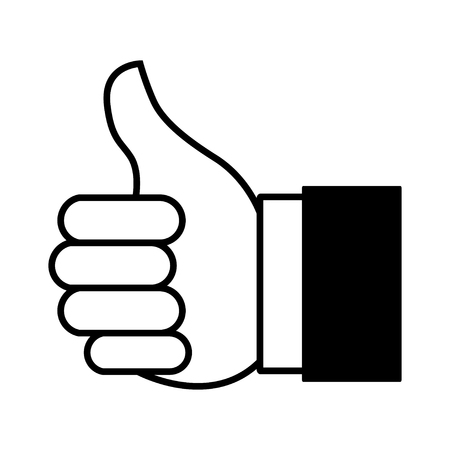 encourage: Cartoon illustration of thumbs up or like hand gesture for website or mobile application icon