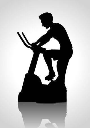 man working out: Silhouette cartoon of a man riding exercise bike