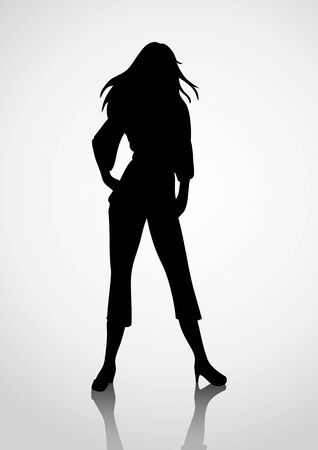 beauty girls: Silhouette illustration of a woman figure