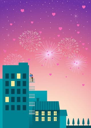 festival moment: Beautiful simple graphic of a couple watching fireworks at hotel or apartment balcony with hearts shape on the air