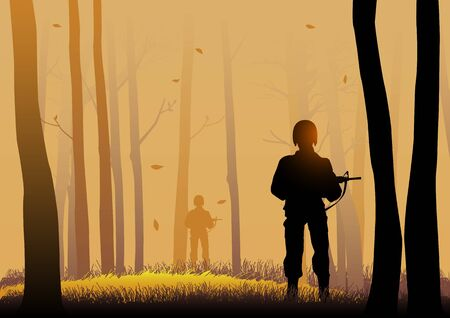 army helmet: Silhouette illustration of soldiers in the dark woods