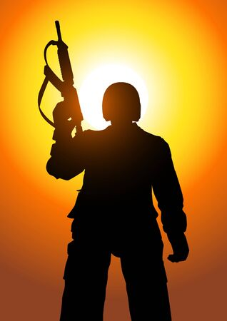 guard duty: Silhouette illustration of a soldier from low angle shot