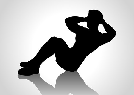 situp: Cartoon silhouette of a man doing sit up Illustration