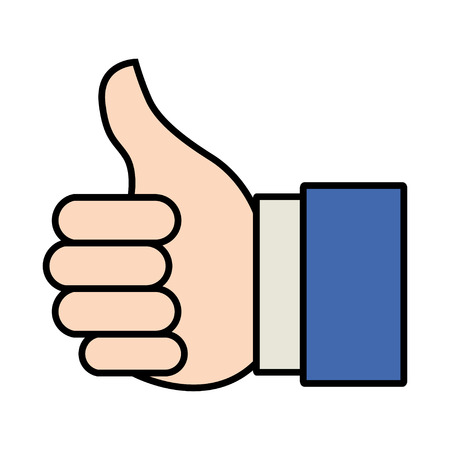 compliment: Cartoon illustration of thumbs up or like hand gesture for website or mobile application icon