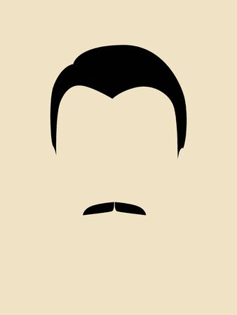 hair style fashion: Simple graphic of a man face with mustache