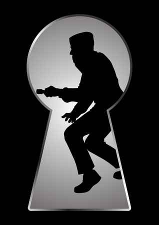 break in: Silhouette illustration of a thief seen through a keyhole