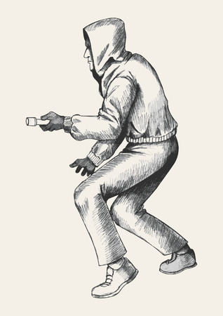 unsafe: Sketch illustration of a thief wearing hood