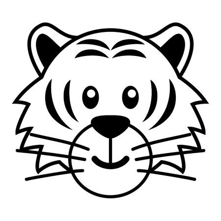 simple caricatura de un tigre lindo