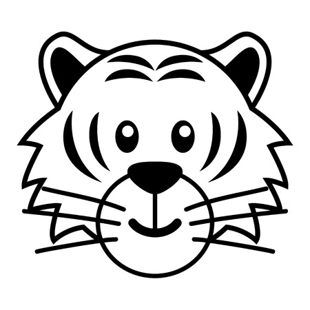 funny animals: Simple cartoon of a cute tiger