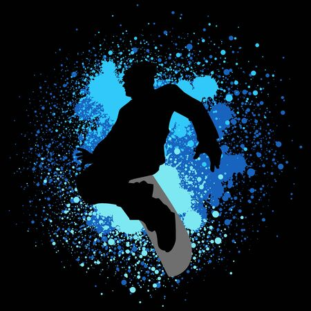 boarder: Silhouette illustration of a snow boarder on paint splash background