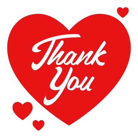 Eenvoudige grafisch van een hart symbool met dank je hand belettering