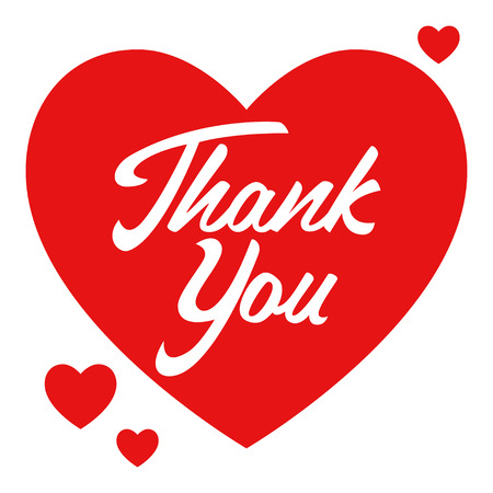 Prosta grafika symbolu serca z podziękowaniami ręcznie napisane