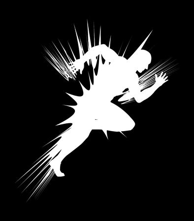 action sports: Illustration of a sprinter with abstract lighting flash Illustration