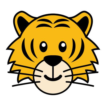 Simple cartoon of a cute tiger