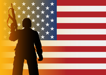 patriots: Silhouette illustration of a soldier from low angle shot on American flag