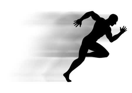 athletic body: Silhouette illustration of a muscular male figure off to a fast start