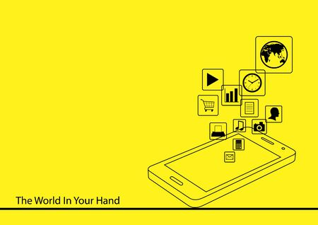 user friendly: Line art illustration of a smartphone on yellow background Illustration