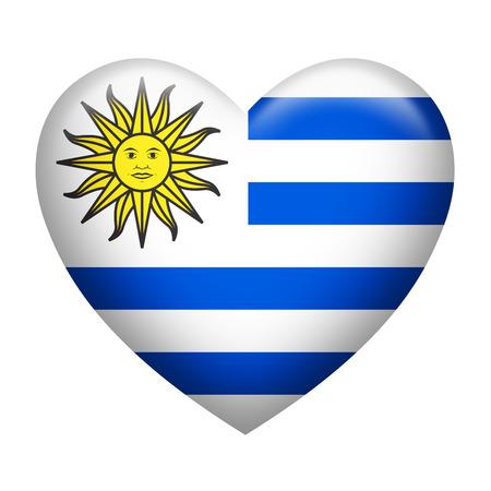 uruguay: Heart shape of Uruguay flag isolated on white