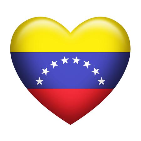 bandera de venezuela: La forma del corazón de la bandera de Venezuela aislado en blanco Foto de archivo