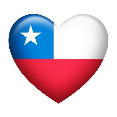 bandera de chile: La forma del corazón de la bandera de Chile aislado en blanco Foto de archivo