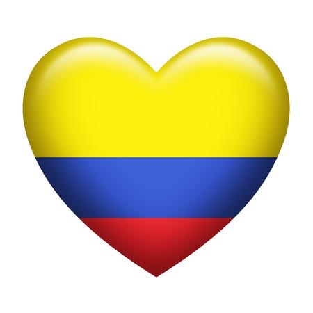 forme: En forme de coeur de drapeau Colombie isolé sur blanc