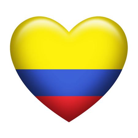 colombia flag: Heart shape of Colombia flag isolated on white