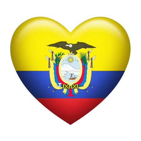 ecuador: Heart shape of Ecuador flag isolated on white