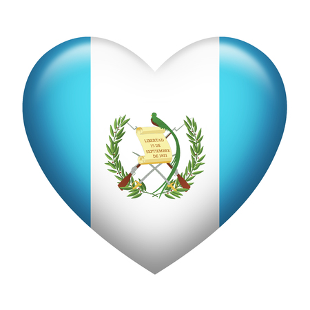 Heart shape of Guatemala flag isolated on white