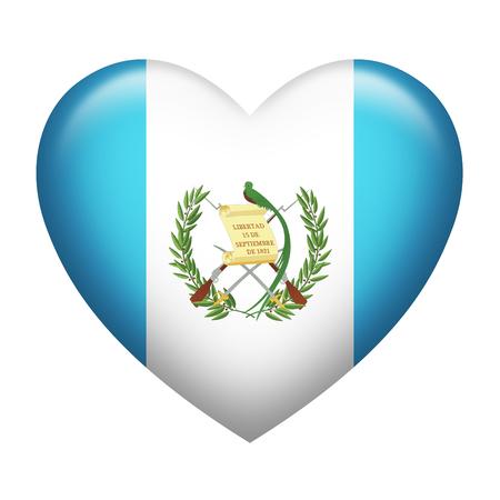 guatemalan: Heart shape of Guatemala flag isolated on white