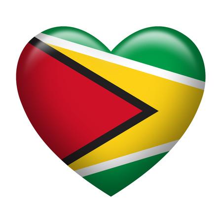 guyanese: Heart shape of Guyana flag isolated on white Stock Photo