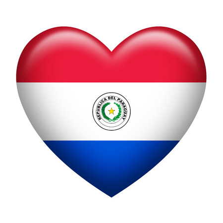 paraguay: Heart shape of Paraguay flag isolated on white
