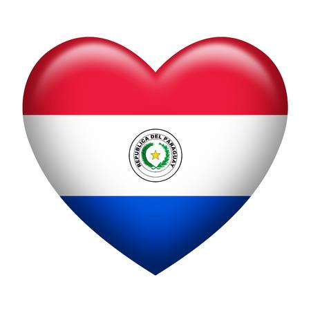 bandera de paraguay: La forma del coraz�n de la bandera de Paraguay aislado en blanco Foto de archivo