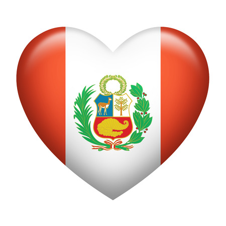 bandera de peru: La forma del corazón de la bandera de Perú aislado en blanco