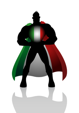 national hero: Silhouette illustration of a superhero with Italy insignia Illustration