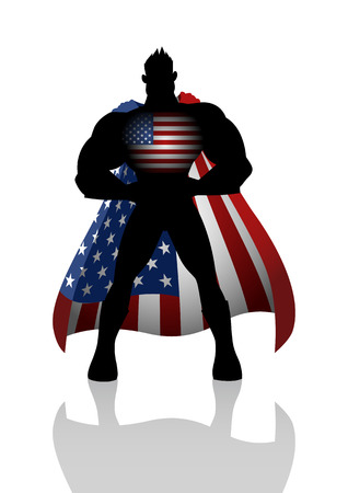 national hero: Silhouette illustration of a superhero with USA insignia Illustration